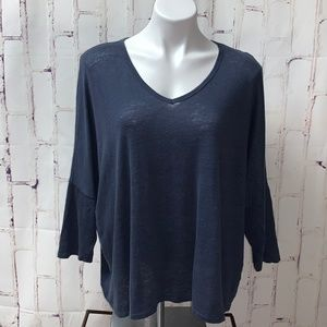 Lou & Grey Linen Knit Relaxed Fit Top Blue XL